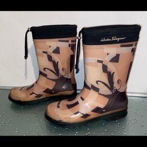Salvatore Ferragamo Mid Calf Rubber Rain Boots 7
